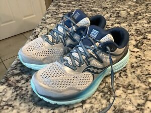 Saucony Womens Guide ISO 2 S10464-1 Aqua Blue Running Shoes Lace Up Size 8.5
