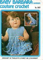 "Warner 517 Vintage Baby Crochet Pattern Girls Dress and Hooded Cape  22-24"""