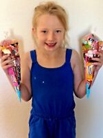 6 Big Pre Filled Party Cones Pick 'N' Mix. Free Sweet Paper Bags. kids party bag