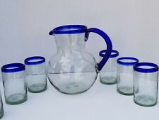 Pitcher & 6 Tumbler Set Cobalt Rim Hand Blown *** $19.99 Shipping***