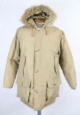 VTG Woolrich Goose Down Tan Parka Coat Coyote Fur Trim Sz M