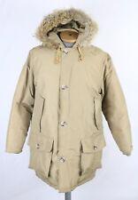 VTG Woolrich Goose Down Tan Parka Coat Coyote Fur Trim Sz M