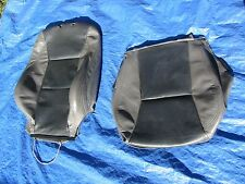 02-05 Saab 9-5 Aero Grey Black Driver Left Side Leather Seat Covers 2 Pieces