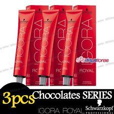 3 x Schwarzkopf IGORA ROYAL Permanent Colour Hair Dye 60ml Chocolates