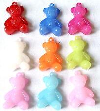 9 Dijes De Oso De Peluche Mezclado Color fabricación de joyas Artesanías 30mm Plus Bucle CHP0203
