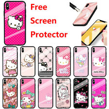 Cute Hello Kitty Pattern Screen Protector + Glossy Case Cover For iPhone Samsung