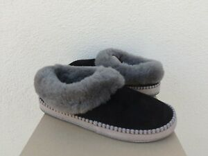 UGG WRIN BLACK SUEDE/ SHEEPSKIN CUFF SLIPPERS, WOMEN US 9/ EUR 40 ~NIB