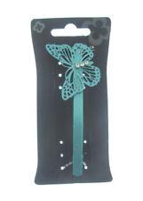 bleu métallique Butterfly avec pierres précieuses cheveux barrette 10cm (A)