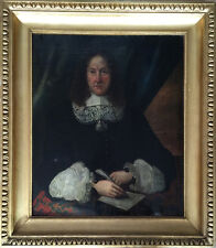 17th Century large Dutch School Oil Painting On Canvas Signed Dated Gilt Frame