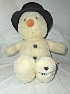 "Russ 4832 Snowflake Snowman Plush Off White 12"" I Love Snow Winter Hat NO SCARF"