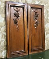 Pair bow fruit garland walnut carving panel Antique french architectural salvage
