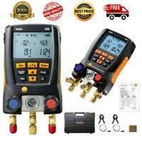 Testo 550 Refrigeration Digital Gauge Meter Manifold 0563 1550 W/ 2 Clamp Probes