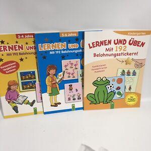 Lot of 3 Learning German w/ Stickers Workbooks By Schwager & Steinlein New