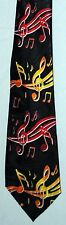 NEW! Red and Gold Music Notes on Black Novelty Necktie  #1772-K