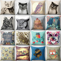 Vintage Owl Linen Pillow Case Sofa Waist Throw Cushion Cover Home Decor Eyeful