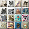 EE_ Vintage Owl Linen Pillow Case Sofa Waist Throw Cushion Cover Home Decor Eyef