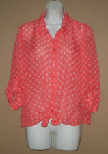 Womens Size Medium 3/4 Long Sleeve Fall Fashion Coral Melon Blouse Top Shirt