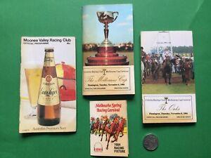 1984 VRC Melbourne Cup Carnival  3 Programmes & 1 Racing Fixture