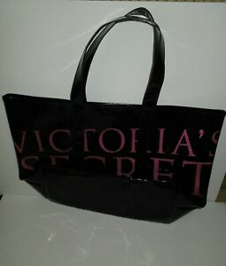 NWOT Victoria's Secret Black Patent XL GLAM Tote w Color Model Lining