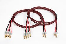 Elite Pure Copper Braided BiWire Speaker Cable 1 Pair, 2 to 4 Banana, 10 Ft.