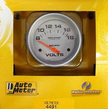 Auto Meter 4491 Ultra Lite Voltmeter Volt Meter Gauge 2 5/8  8 - 18 Volts