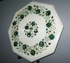 "15"" Marble Coffee Table Top Malachite Inlay Pietra Dura Handmade Home Decorative"
