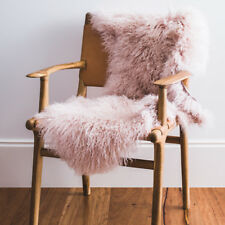 Genuine Mongolian Sheepskin Rug - Pink Blush - Soft and Warm for Winter