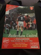Rotherham United V Middlesbrough 1995 League Cup Soccer/football Programme