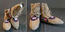 Rare Late 1800 Native American Athabaskan Embroidery & Quilled Hightop Moccasins