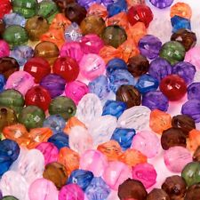 180 Mixed Colour Craft Beads 8mm Round Diamond Oval Sewing Gems Jewellery Spacer