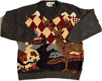 """Vintage Hand Knit """"Ideas By Bob And Chris"""" Deer Country Style Sweater - Large"""