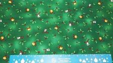 CHRISTMAS Fabric Tiny Gold & Silver Bells Holly Leaves on Green per yard