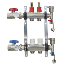 2 Loop/Port Stainless Steel PEX Manifold Radiant Heating w/ connectors - PEX GUY