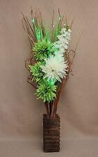 ARTIFICIAL SILK GREEN & CREAM FLOWER ARRANGEMENT WITH LED LIGHTS IN WOOD VASE