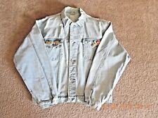 VINTAGE DENIM JACKET BY OLD NAVY-XTRA LARGE- WITH 7 TRAVEL PINS ON LAPEL !!!