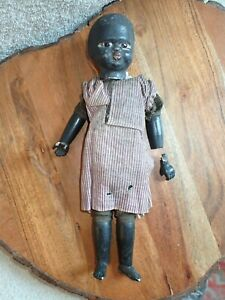 """Late 1800's Antique Black Doll 10"""" As Found Composition Glass Eyes"""