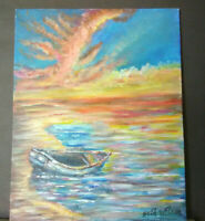 Original Acrylic Painting 8 x 10 Canvas Panel, Tropical Boat on Beach Home Decor