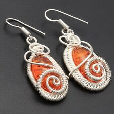 """Woman Earrings Size 1.8"""" Jewelry T6799 Created Amber Silver Plated Wire Wrapped"""