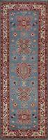 Geometric Super Kazak Vegetable Dye Hand-knotted Oriental Runner Rug Wool 2'x8'