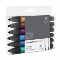 Winsor & Newton Promarker Brush Twin Tip Graphic Markers 6 Rich Tones Set