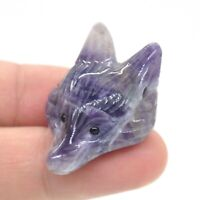 Fox Head Pendant Natural Gemstone Amethyst Healing Crystal Carved Necklace Gift