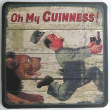 OH MY GUINNESS! Beer COASTER Mat w/ LION Chasing MAN w/ GUINNESS, Dublin IRELAND