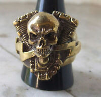Bronze V-Twin Harley Engine with Skull Biker Ring Custom Size Chopper mc R-3b