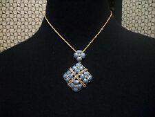 NOLAN MILLER Beautiful Necklace Goldtone Blue Flower & Austrian Crystal Pendant