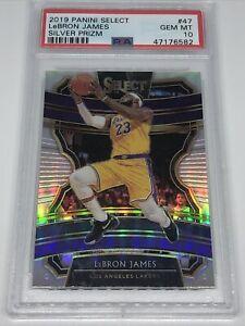 🔥King James👑2019 Panini Select Lebron James Silver Prizm Lakers PSA 10 GEM MT