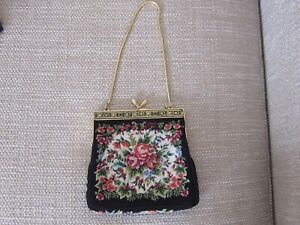 Vintage Black Petit Point Tapestry floral evening handbag