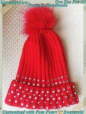 ✨ Cristal Rojo Gorro Nieve Esquí GLAM BLING Bobble Pom Pom Sombrero personalizado rápido 📮 ✨