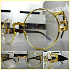 Mens CLASSIC VINTAGE RETRO Hip Hop Style Clear Lens Eye Glasses Round Gold Frame