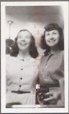 Unusual Vintage Photo Pretty Girls Selfie w/ Snapshot Camera in Mirror 676465