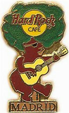 "Hard Rock Cafe MADRID 1997 BEAR Playing GUITAR Tree PIN 1LC ""CHINA"" Back"